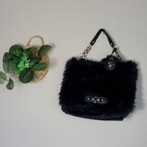 Guess Faux Fur Front Black Shoulder Bag